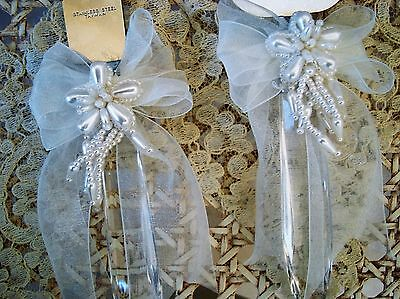 Bead Wedding Cake Knife - BEAUTIFUL WEDDING CAKE KNIFE & SERVER WITH BOWS, BEADING & FAUX PEARLS BY AMSCAN