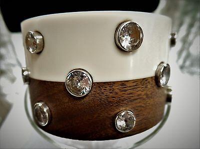 Modernist Massive BRACELET Vintage STERLING Silver 925 Rhinestone BANGLE