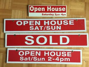 Real estate sign open house sold