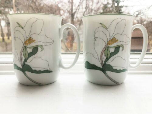 Block Spal Trillium Watercolors Pair of Mugs Mary Lou Goertzen Portugal