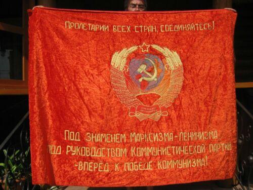Large FLAG BANNER USSR velvet ORIGINAL,embroidered ,communist PROPAGANDA USSR