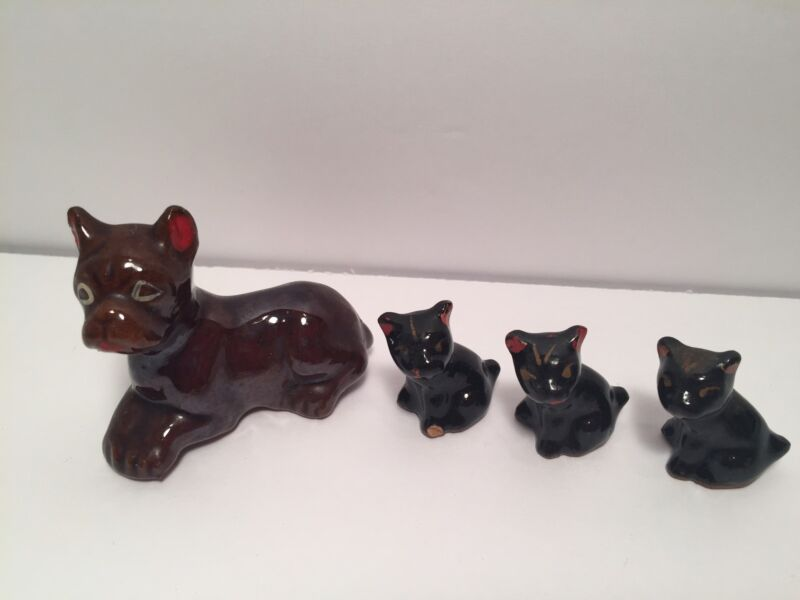 Lot Of Miniatures 4 Dog Figurines Boxer or French Bulldog Porcelain Japan Collec