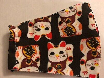 Lucky Cat - Good Fortune - Asian Maneki-neko Cat Theme - Fabric Face Mask