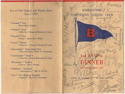 Babbacombe, Torquay, Devon: Corinthian Sailing Club Signed Dinner Menu 1937