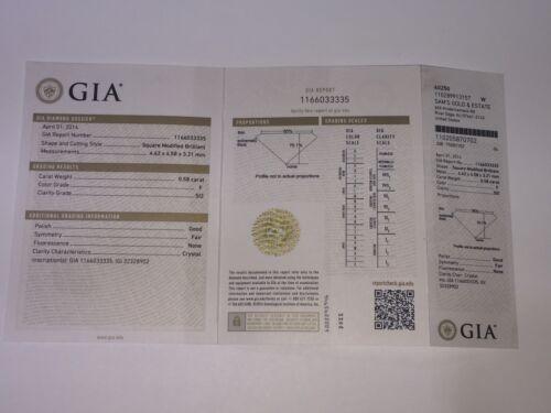 0.58 Ct Square Modified Brilliant SI2 Clarity F Color GIA Certified Diamond