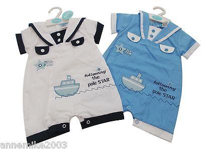 Neu mit Etikett Baby Jungen Matrosen Strampler Kleidung Outfit 0-3 M 3-6 Monate ()