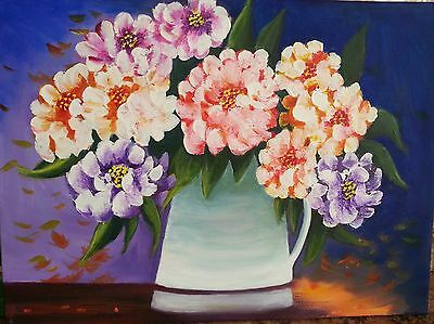 Pitcher of Peonies. An original acrylic painting by Susan Gaunt