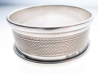 Antique Vintage Sterling Silver Napkin Ring Birmingham 1944 Engine Turned Engrav