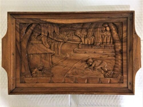 HAND CARVED WOODEN FOLK ART SERVING TRAY Tropical Island Village w/ People