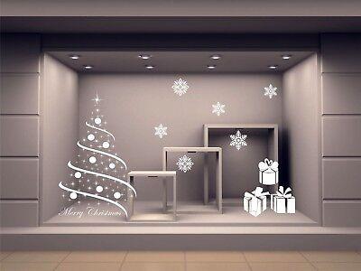 vetrofania adesivo vetrina albero natale merry christmas ADESIVI fiocchi v07b usato  Alcamo