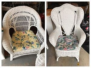 Beautiful wicker rattan coordinating chairs - solid.