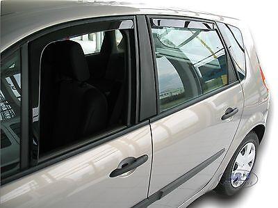DRE27128 Renault Scenic Mk2 2003- 2009  wind rain deflectors 4pc set TINTED HEKO