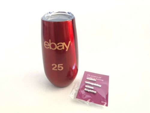 EBAY 25TH ANNIVERSARY 6OZ METAL CUP TUMBLER INSULATED WINE CHAMPAGNE FLUTE PIN