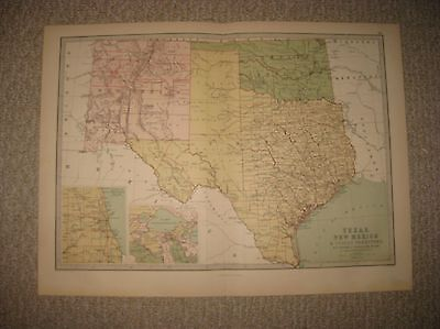 LARGE SUPERB ANTIQUE 1875 TEXAS NEW MEXICO INDIAN TERRITORY OKLAHOMA MAP RARE NR