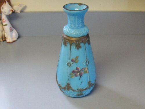 Gorgeous Antique BLUE MILK GLASS VASE, Raised Gold Scroll & Floral,  Dithridge