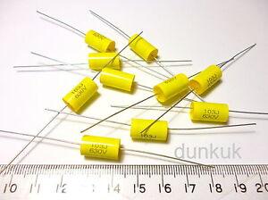 10x Capacitor 0.01uF 10nF 5% 630V DC Polypropylene Axial Valve Metal Film