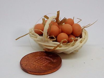1:12 Dozen Brown Eggs In A Basket Dolls House Miniature Food