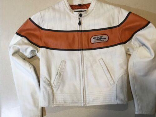 Women's Harley Davidson White & Orange Leather Racing Jacket Size Small