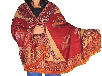 """Maroon Floral Fashion Wool Shawl Ladies Evening Dress Wrap Afghan Big Scarf 80"""""""