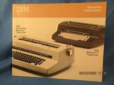 Ibm Correcting Selectric Selectric Ii Typewriters Operating Instructions