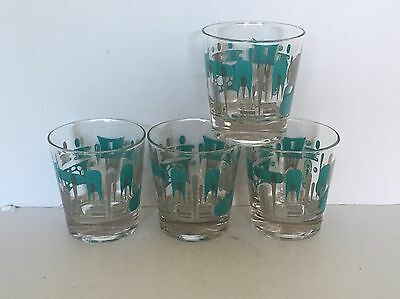 """Royal China Blue Heaven 6 oz. Old Fashioned 3.25"""" Drinking Glasses Set of 4"""