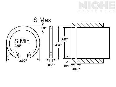 Housing Retaining Ring Internal 5/8 Spring Steel PH (300 Pieces)