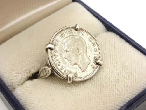 King George VI Signet Coin Ring Lucky Three Pence Silver Vintage UK Size O