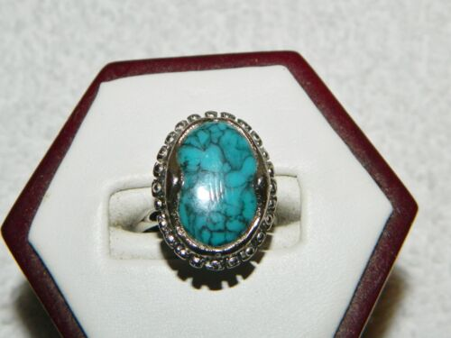 Blue Marbled Oval Silvertone Adjustable Costume Ring