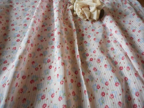 Antique Floral Roses Small Scale Dimity Cotton fabric ~ Pink Blue ~ dolls