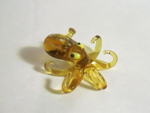 Amber brown yellow glass Octopus FIGURINE Lampwork Murano Hand BLOWN RUSSIAN