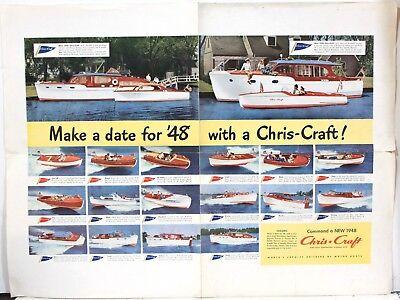 "1948 Color Chris Craft Pleasure Boat Promotional Flyer – 18"" x 24"" w/ 18 Models"