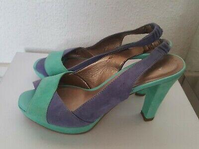 super sandale haut talon daim turquoise et bleu semelle cuir 37