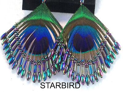 PEACOCK FEATHER BEADED EARRINGS AURORA BOREALIS 80's (Beaded Feather Earrings)