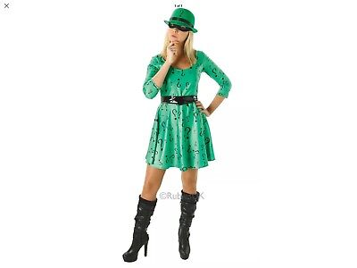 Ladys 12/14 Dc Batman Super Hero Villain  Riddler Fancy Dress Costume No Hat - Batman Female Villains Costumes