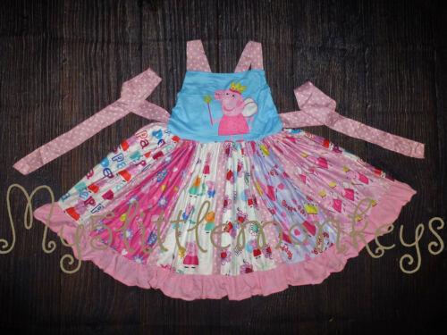 NEW Boutique Peppa Pig Girls Sleeveless Ruffle Twirl Dress