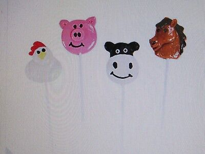 Farm Animal Party Favors (12 FARM ANIMAL SUCKERS lollipops candy pig cow horse + BIRTHDAY PARTY)