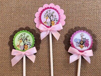 Safari cupcake toppers/ girl safari theme/ monkey cupcake toppers](Pink Safari Cupcakes)