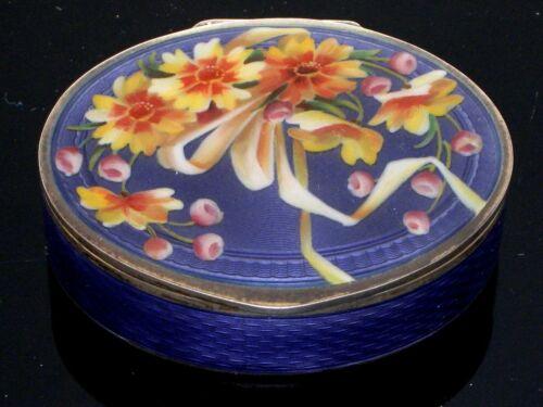 Antique Guilloche Enamel Sterling 935 Silver Snuff Box Pill Box Purple Flowers