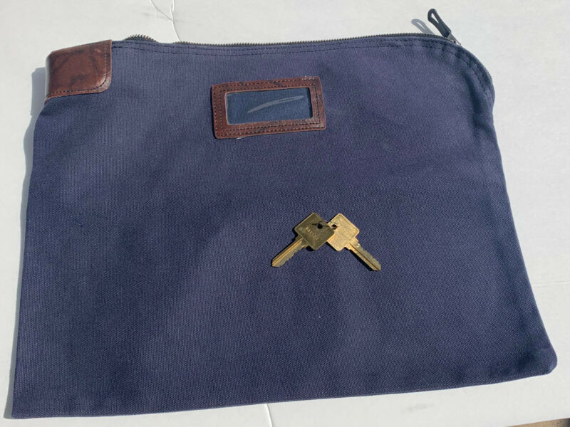 Locking Courier Security Bank Bag + Keys Large Pouch Deposit Cash, Coins, Money