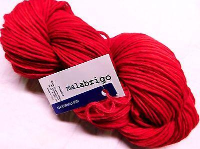 Valentines Red Vermillion 210Yd Skein Malabrigo Worsted Merino Wool X Soft Yarn