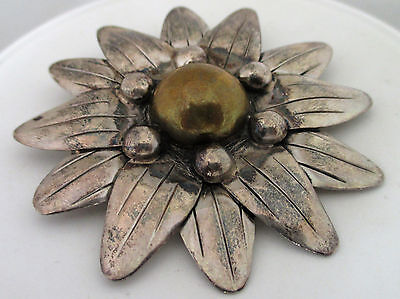 Mexico TAXCO Sterling Silver Large Flower Brooch Pendant Brass Detail
