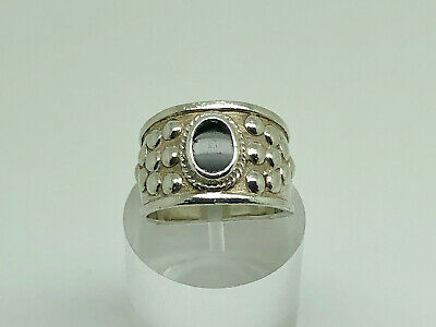 Gorgeous Vintage Studio Sterling Silver Onyx Modernist Band Ring Size N
