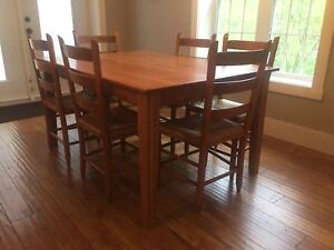 Solid oak dining table set (made by wheatons)