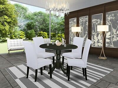 5pc dinette kitchen dining set round pedestal table + 4 parsons chairs in black