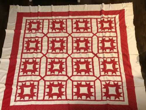 Antique Red and White Quilt Top, late 19th Century