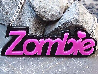 Kette Halskette Anhänger ZOMBIE Barbie rosa schwarz Acryl groß EmO Gothic Kitsch