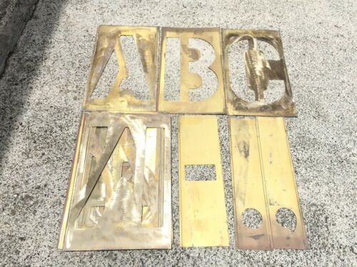 CH HANSON 33 PIECE, 12 INCH CHARACTERS, BRASS STENCIL LETTERS