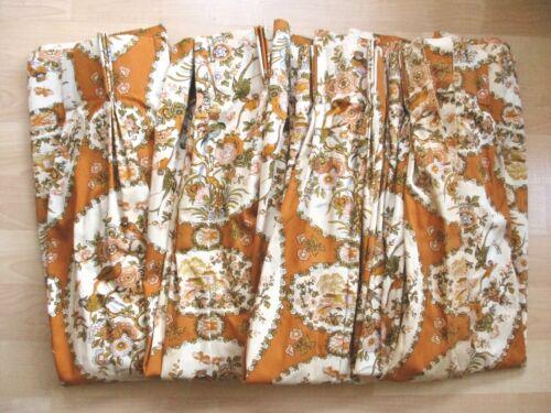 SET 4 Panels Vtg Mid Century Cream Caramel Brown Botanical Birds Drapes Curtains