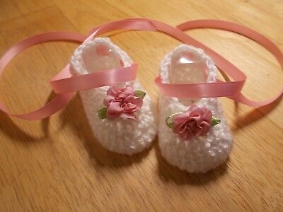 Hand crochet baby shoes,Preemie- 0-3 & 3-6 months by Rocky Mountain Marty Crocheted Baby Shoes