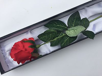 Single Everlasting Artificial Silk Red Rose  in A Satin Lined Luxury Box
